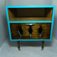 Mid Century Retro Inspired Nightstand Teal Trim