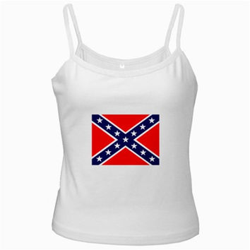 US Confederate Battle Flag White Spaghetti Tank