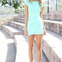 Mini short scoop short sleeves simple Prom Dresses 2012 PDM354