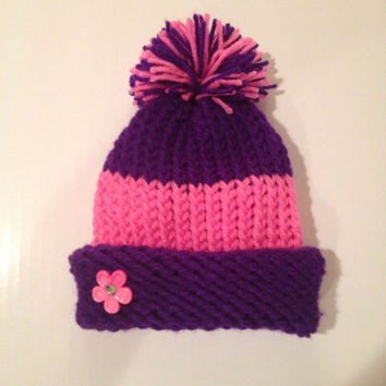 Purple and Pink Striped Baby Infant Childs Knitted Winter Hat