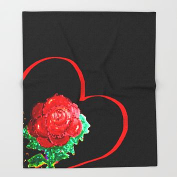 Heart of Rose Throw Blanket by ES Creative Designs