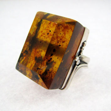 Blue Amber, Blue Amber Ring, Men's Amber Jewelry, Men's Silver Ring