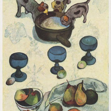 "Vintage German Postcard -- Paul Gauguin ""Still Life with Puppies"" -- 1960s"