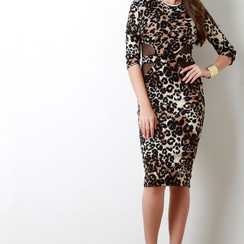 Leopard Print Mesh Panel Bodycon Dress