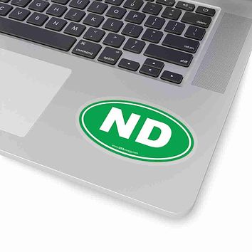 North Dakota NE Euro Oval Sticker SOLID GREEN