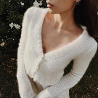 Cropped Cardigans Sweaters Women 2018 Spring Autumn Winter Crop Tops Fluffy Long Sleeve Sweater Cardigan Women Unif Knitwear