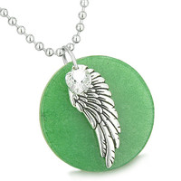 Angel Wing Green Quartz Medallion White Crystals Heart Feather 18 Inch Pendant Necklace