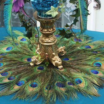 "SALE!  22"" Peacock Feather Place Mat or Centerpiece Decoration"