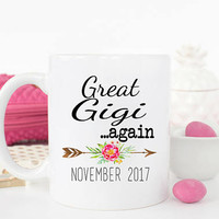 Gigi AGAIN Mug, New Grandparents Baby Announcement Idea, Gift for new grandma, Gigi Coffee Mug, Pregnancy Reveal, Gift for mom, Gigi