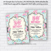 Shabby Chic Birthday Invitation for any age 30th 40th 50th 60th 70th 80th 90th floral pink flowers Card Design party invite - card 422