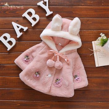 Warm Winter Baby Girls Faux Fur Ear Hooded Cloak Cape Cartoon Rabbit Flower Kids Jacket Coat Casaco Cardigans Outwear S6074