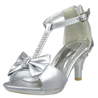 Kids Dress Sandals T-Strap Rhinestones Bow High Heel Dress Shoes Silver SZ