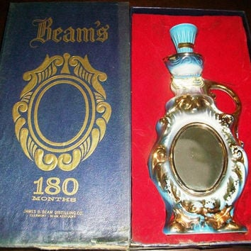 Vintage Unopened JIM BEAM 180 Months Mirror Whiskey Decanter in Original Box 1975