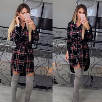 Casual Long Sleeve Plaid Turn Down Collar Tunic Feminine Mini Women Autumn Dress LJ5932P