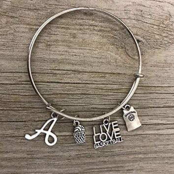 Personalized Basketball Bangle Bracelet with Letter Charm