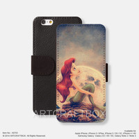 The little mermaid Sunrise Sunset iPhone Samsung Galaxy leather wallet case cover 793