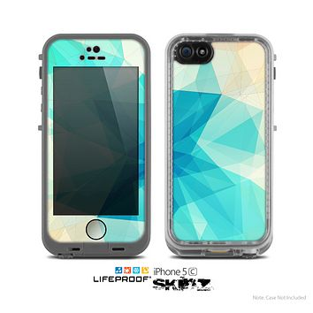 The Vector Abstract Shaped Blue Overlay V2 Skin for the Apple iPhone 5c LifeProof Case