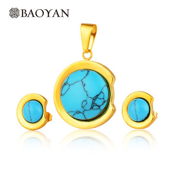 2016 Blue Stone Turquoise Jewelry Set For Women Gold Plated Stainless Steel Pendant And Earring Fashion Jewelry Sets Gift N5