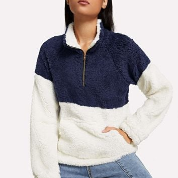 Multicolor Drop Shoulder Quarter Zip Teddy Sweat Shirt