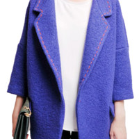 Royal Blue Bat Sleeve Woolen Overcoat,Cheap in Wendybox.com