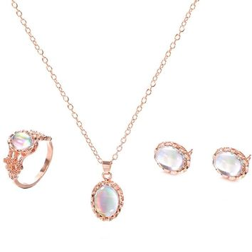 Jewelry Sets African Bridal Gold Color Opal Necklace Earrings Ring Wedding Crystal Sieraden Women Fashion Jewellery Set