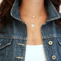 Women Chic Geometry Charms Crystal  3 Layers Chain Fashion Necklace = 1945727940