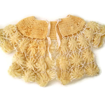 Vintage Baby Jacket Handmade Sweater Crochet Off White