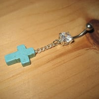 Belly Button Ring Turquoise Stone Cross Rosary Charm Navel Piercing