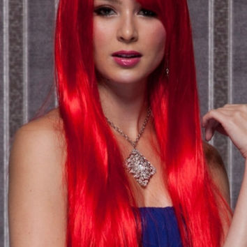 Fire Engine Red Long Straight Wig