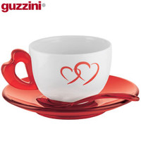Guzzini Love Cappuccino Cups with Saucers - Set of 2