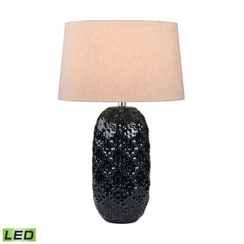 D2866-LED Teal Ceramic Bun LED Table Lamp