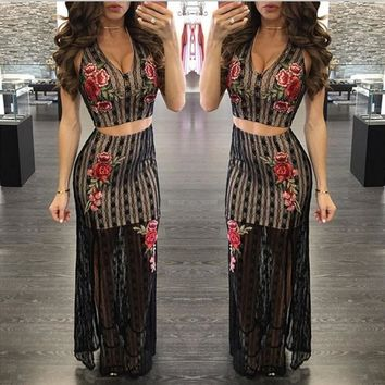 Hot style sexy v-neck embroidered lace two suits