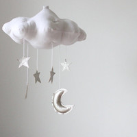 Silver Moon and Star Cloud Mobile- modern fabric sculpture for baby nursery decor in white linen and metallic faux leather
