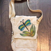 Hand Painted Dragonfly Canvas IPad Bag