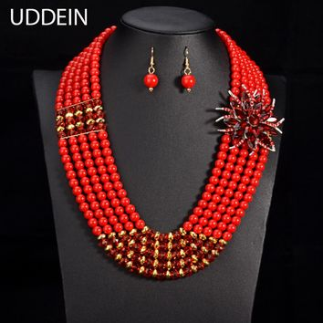 Nigerian crystal flower necklace & pendant women statement collar beads jewelry sets