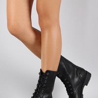 Bamboo Combat Flat Ankle Boots