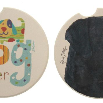 Black Lab Dog Lover Stone Car Coasters Set 3 CounterArt Absorbent