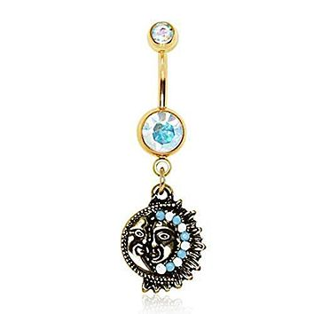 Gold Plated Antique Mayan Sun and Moon WildKlass Navel Ring