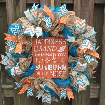 Beach Wreath, Deco Mesh Wreath, Spring Wreath, Welcome Wreath, Beach House Wreath, Spring Mesh Wreath, Front Door Wreath, Summer Wreath