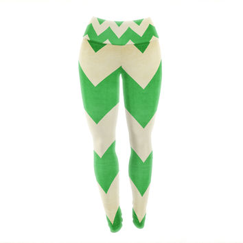"Catherine McDonald ""Granny Smith"" Green Chevron Yoga Leggings"
