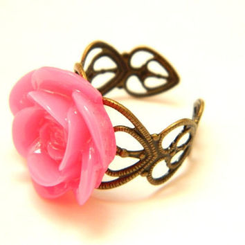 Rose Ring Fuchsia Antique Filigree by PushTheButtons on Etsy