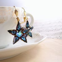 Dark Star earrings with vintage swarovski by shadowjewels on Etsy