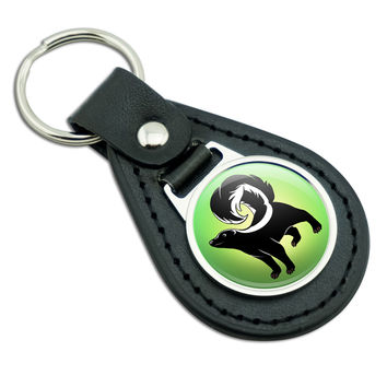 Skunk Black Leather Keychain