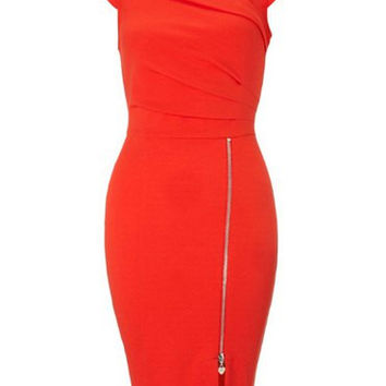 Red Skew Neck Sleeveless Zippered Bodycon Dress