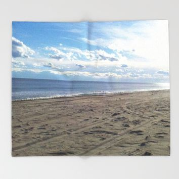 Misquamicut Beach, Westerly, RI Throw Blanket by DJ Beaulieu