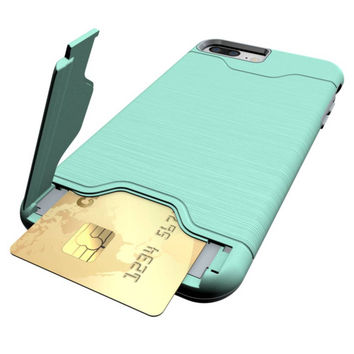 i6 i7 Plus Stand Case Ultra Thin Brushed Kickstand Bank/Credit/ID/Bus Card Slot in Para Capa Cover Case for iPhone 6 6s 7 7 Plus