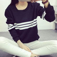 2016 Harajuku Style Three Bars Striped Hoodies Women Black Long Sleeve Loose Sweatshirt Female Tracksuit Casual Moleton Feminino