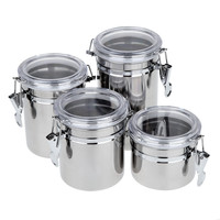 4pcs Stainless Steel Canisters with Transparent Covers