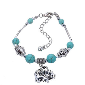 Unique Design Beads  Turquoise Tibetan Silver Elephant Pendant  Bangle Wrist Bracelet (Size: 18cm by 6cm by 1cm, Color: Blue & Silver) = 1946554116