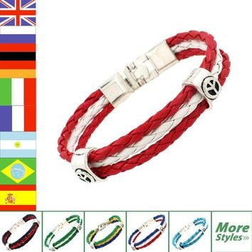 World Cup National Flags 3 Strands Rope Braided Surfer Leather Bracelets